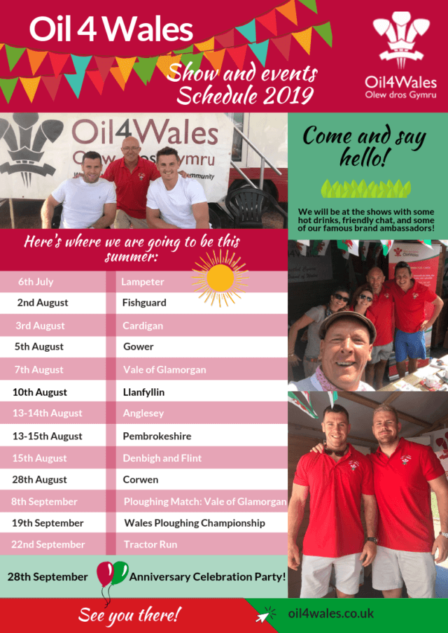 show schedule oil 4 wales