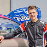 Tom Llewellin with his Mitsubishi Mirage R5 rally car